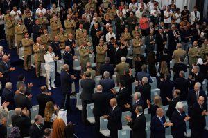"""رئيس النظام السوري، بشار الأسد، لحظة تأدية """"اليمين الدستورية"""" في قصر الشعب - 17 من تموز 2021 (رئاسة الجمهورية)"""