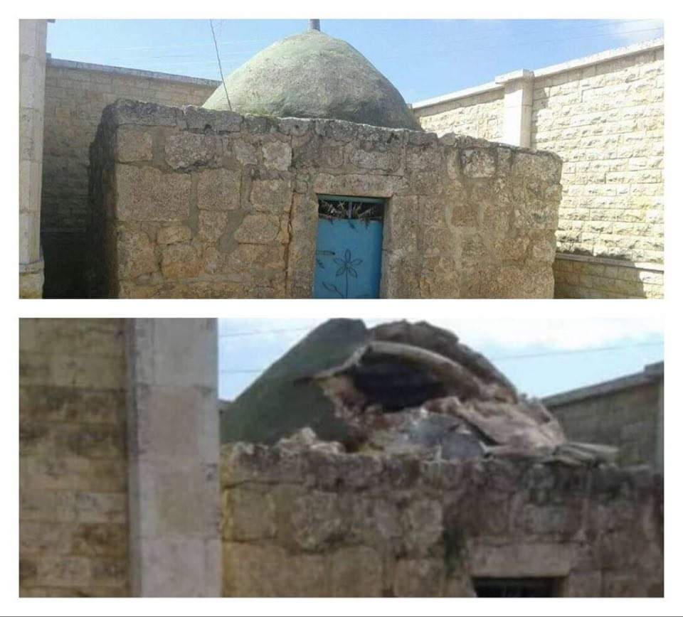 هدم مزار الشيخ علي في قرية باصوفان بريف عفرين، مركز توثيق الانتهاكات في شمال سوريا.
