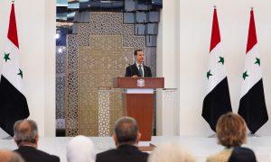 رئيس النظام السوري، بشار الأسد، خلال أدائه القسم الدستوري في 17 من تموز 2021 (رئاسة الجمهورية العربية السورية)