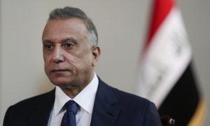 رئيس الوزراء العراقي، مصطفى الكاظمي في مكتبه ببغداد في 23 من تموز 2021 (AP)