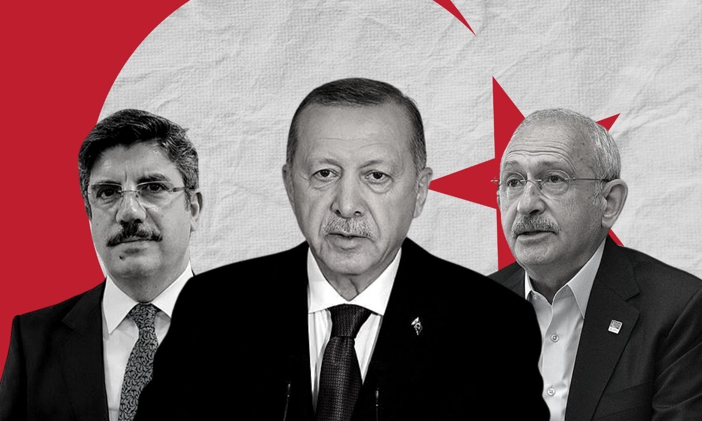 الرئيس التركي رجب طيب أردوغان ومستشاره ياسين أقطاي (يسار) إلى جانب زعيم حزب الشعب الجمهوري كمال كليشدار أوغلو (عنب بلدي)