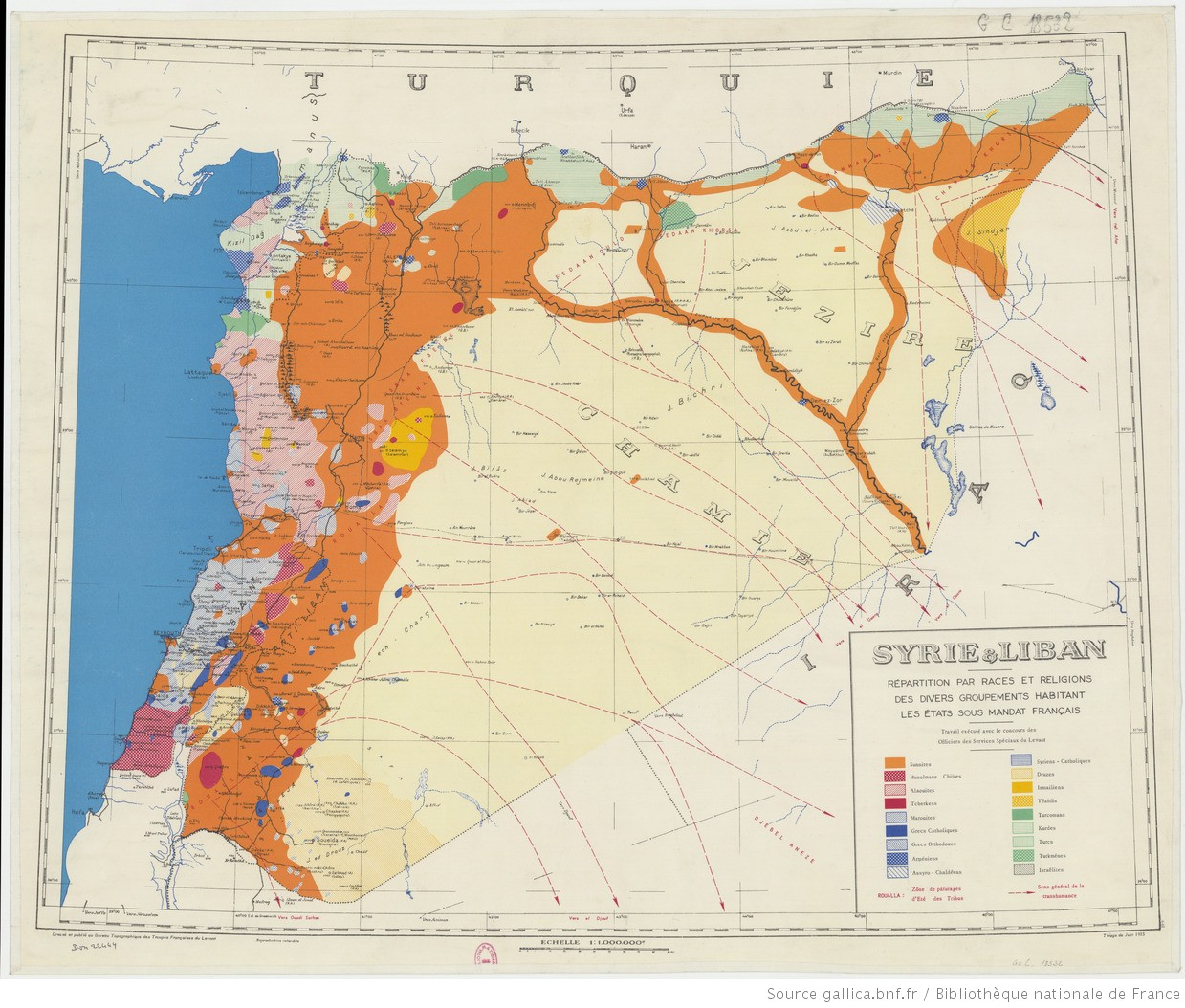 خارطة تظهر التوزع العرقي والديني في سوريا ولبنان تحت الانتداب الفرنسي، المصدر: Gallica.