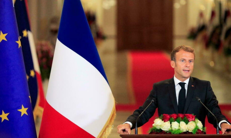 الرئيس الفرنسي، إيمانويل ماكرون، في العراق، رويترز، 2021.
