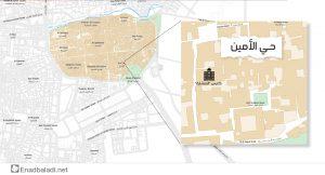 """خريطة توضح موقع كنيس """"المنشارة"""" في حي """"الأمين"""" في دمشق (تعديل عنب بلدي)"""