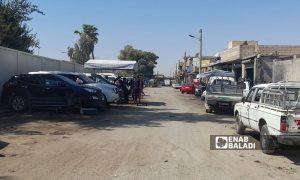 أحد شوارع المنطقة الصناعية في الرقة- 15 آب 2021 (عنب بلدي/حسام العمر )