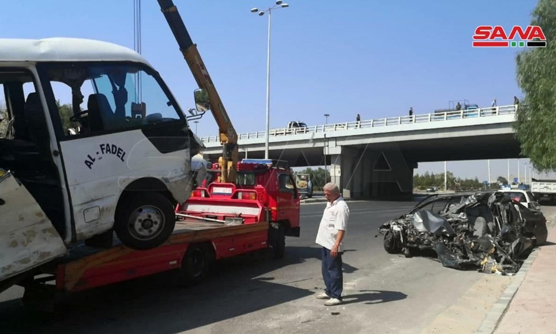 حادث سير على طريق دمشق_ بيروت في 8 من آب 2021 (سانا)