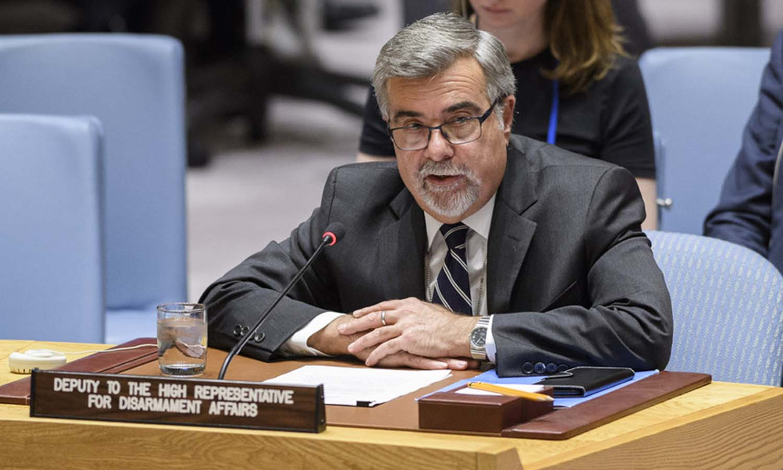 نائب الممثل السامي للأمم المتحدة لشؤون نزع السلاح، توماس ماركرام يخاطب مجلس الأمن _ 2018 (الأمم المتحدة)