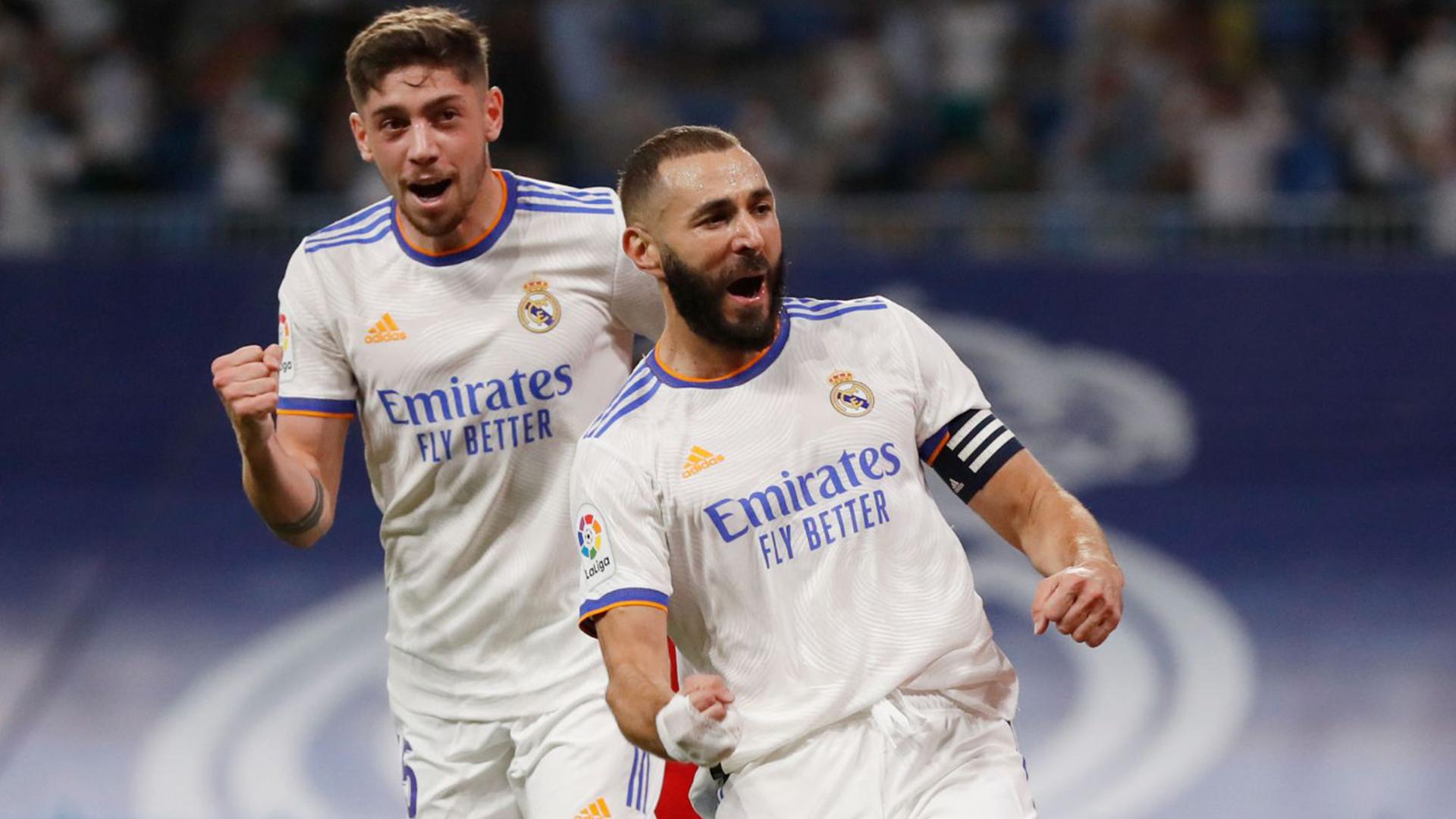 فرحة بنزيما بالهاتريك في مرمى سيلتا فيغو ـ 12 أيلول 2021 (موقع نادي ريال مدريد)