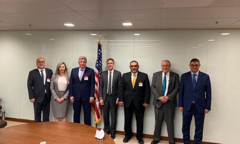 """وفد من """"الائتلاف الوطني السوري"""" يلتقي نائبان أمريكيان، 2021، صفحة الخارجية الأمريكية على """"تويتر""""."""