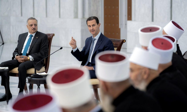 رئيس النظام السوري بشار الأسد يستقبل يستقبل وفدًا لبنانيًا - 5 من أيلول (منصة رئاسة الجمهورية في فيس بوك)