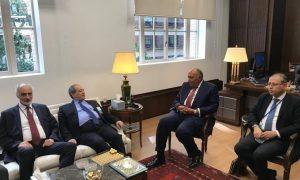 """وزير الخارجية في حكومة النظام السوري، فيصل المقداد، يلتقي وزير الخارجية المصري، سامح شكري، في نيويورك، حساب المتحدث باسم الخارجية المصرية، أحمد حافظ، على """"تويتر""""، 2021."""