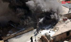 حريق في محل تجاري بسوق مدحت باشا بدمشق (سانا)