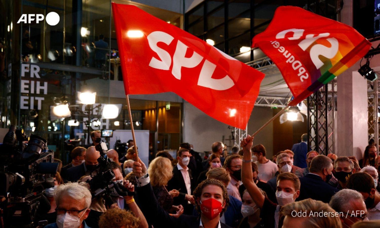 """""""الحزب الاشتراكي الديمقراطي"""" الألماني يفوز بفارق ضئيل في الانتخابات التشريعية، 2021، """"AFP""""."""