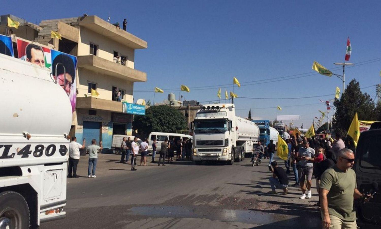 """صهاريج المازوت الإيراني تصل إلى لبنان عبر سوريا، """"الجديد""""، 2021."""