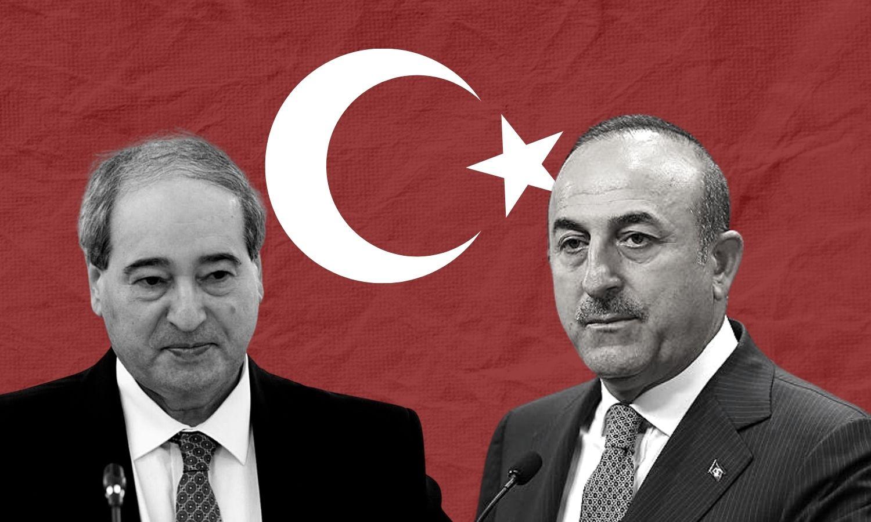 وزير الخارجية السوري فيصل المقداد ووزير الخارجية التركي مولود جاويش أوغلو (عنب بلدي)
