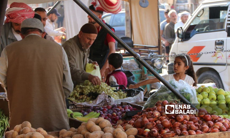 أسواق الخضار والفاكهة في مدينة الباب - 1 من تشرين الأول 2021 (عنب بلدي/سراج المحمد)