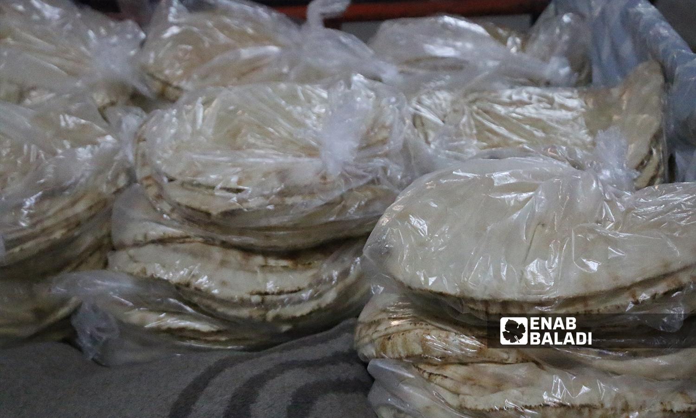 أكياس الخبز مجهزة للتوزيع في المخبز الآلي بمدينة الباب  8 تشرين الأول 2021 (عنب بلدي - سراج محمد)