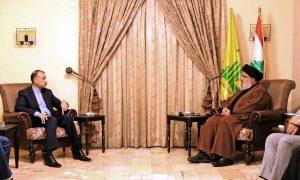وزير الخارجية الإيراني حسين أمير عبد اللهيان يلتقي الأمين العام لحزب الله حسن نصر الله - 8 من تشرين الأول 2021 (المكتب الإعلامي لحزب الله)