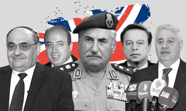 من اليمين: محمد معين جذبة، نزار الأسعد، علي حبيب، سلام طعمة، أحمد القادري (عنب بلدي)