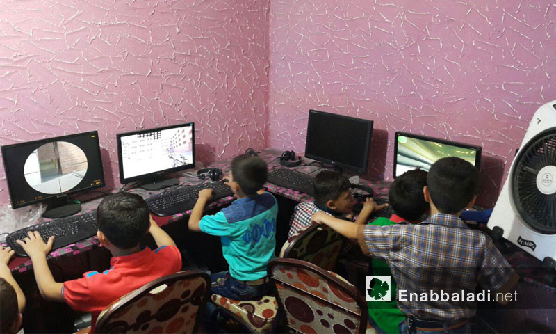 """""""Toyor Al-Jannah"""" (Birds of Heaven) a basement for games during Eid time in eastern Ghouta – Thursday, June 7th (Enab Baladi)"""