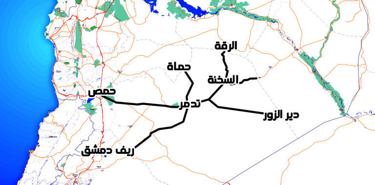 Map illustrating the location of Palmyra in relation to the Syrian governorates.