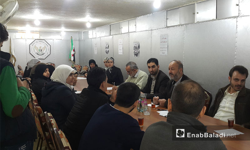 Discussion between women's organizations and the local council in the city of Douma – Mid-November 2016 (Enab Baladi)