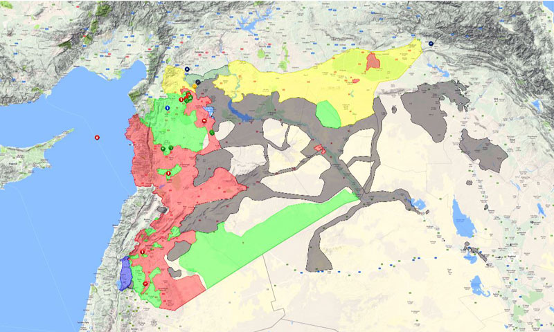 Geographical map showing the distribution of military forces controlling Syria, 6 November 2016 (livemap)
