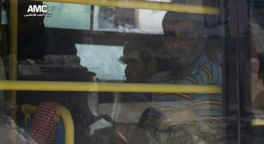 Image Caption: The displaced of Aleppo city on board buses, 15 December 2016 (Aleppo Media Center)