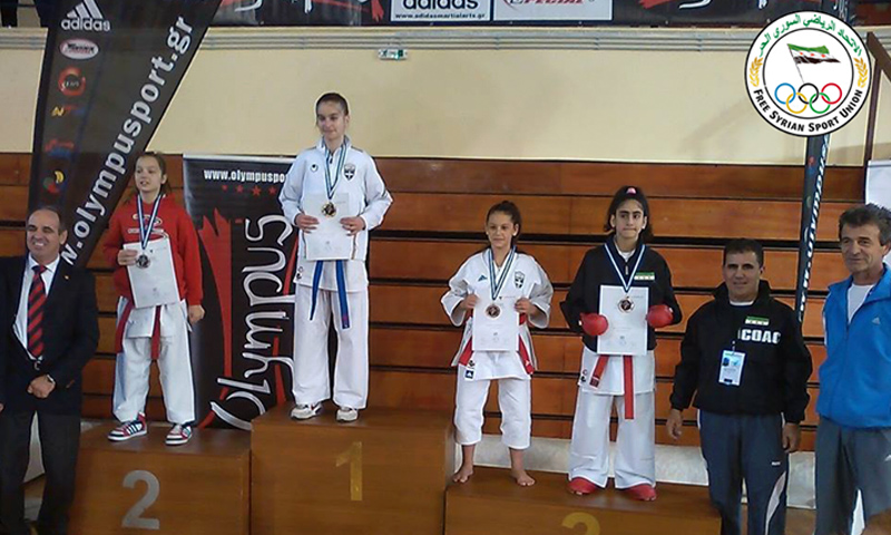 The karate player, Ilham Abdelghafoor, wins a medal at the Athens international championships (Internet)