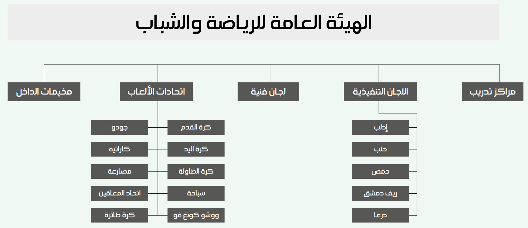 Diagram showing the structure of the General Commission for Youth and Sports (Enab Baladi)