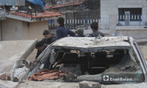 Aftermath of a bombing on the central market in the city of Azaz in northern Aleppo, 7 January (Enab Baladi)