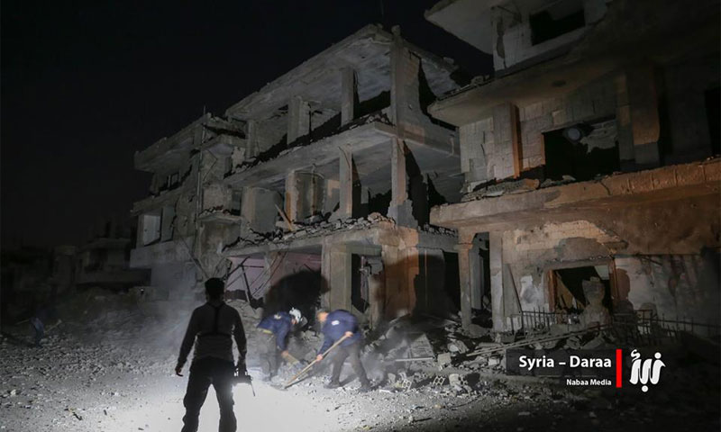""": Physical damage in Daraa city caused by bombing using an """"Elephant"""" missile, Thursday 9 February (News)"""