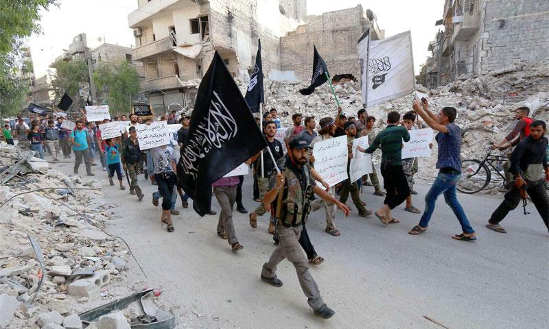 Members of al-Nusra Front in Aleppo, September 24, 2014 (AFP)
