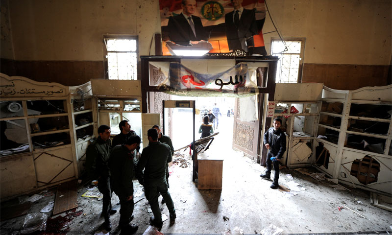 Photo: Official media in the Justice Palace bombing coverage in Damascus –March, 15th, 2017