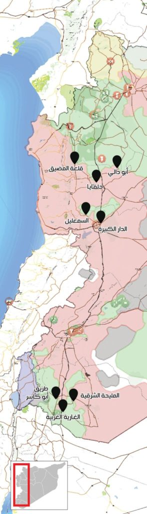 A map showing the distribution of crossings between the parties to the conflict in Syria (Enab Baladi)