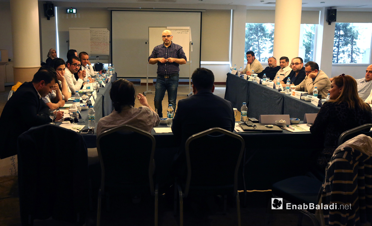 """""""Syrian press together to renounce hate speech"""" Forum, May 8, 2017 (Enab Baladi)"""