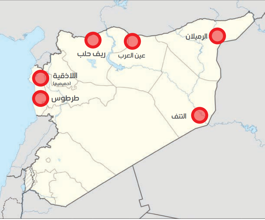 Map showing the distribution of foreign bases in Syria (Enab Baladi)