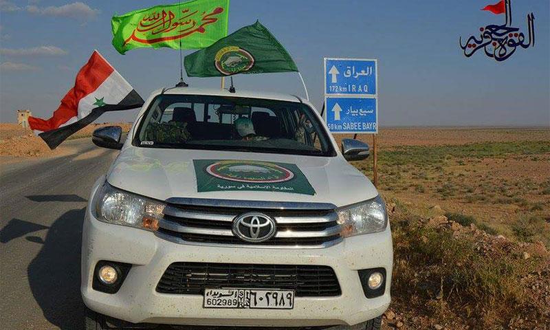 Iraqi militia fighters on the Damascus-Baghdad Road, May 2017 (Facebook – al-Jafariyya Forces)