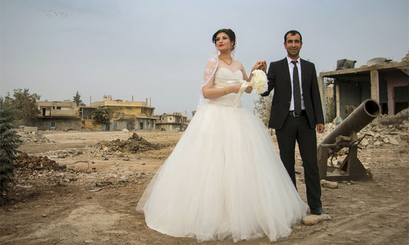 First marriage in Kobani after ISIS was pushed out, December 2015 (Reuters)