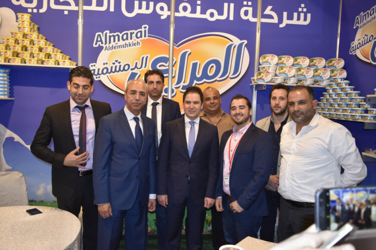 In this Food Expo handout, Syrian Tourism Minister, Bishr Yazigi, appears at a stand operated by the Manfoush Company in the Food Expo in Damascus on May 5, 2017 (Food Expo)
