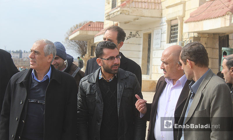 Visit of the President of the Syrian Interim Government Jawad Abu Hatab of Suran town in al- Bab in Aleppo February 5, 2017 (Enab Baladi)