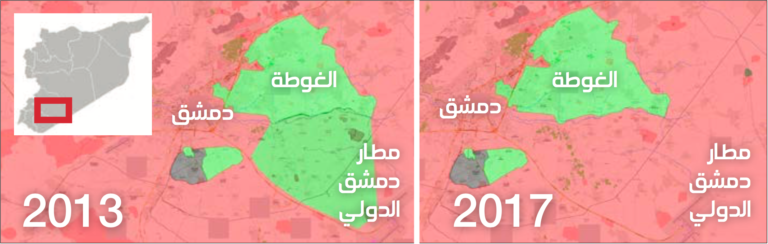 Map showing the change in territory dominion in the vicinity of Damascus (Enab Baladi-Livemap)