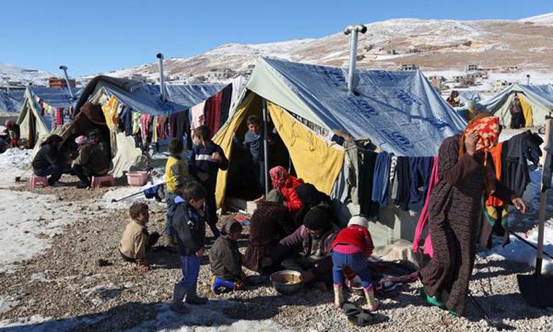 Syrian refugees in Arsal camp on the Lebanese-Syrian border – December 15, 2013