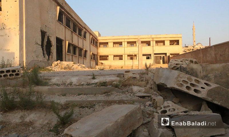 The rubbles of Kafranboda School in Hama's northern countryside- 28 September 2017 (Enab Baladi)