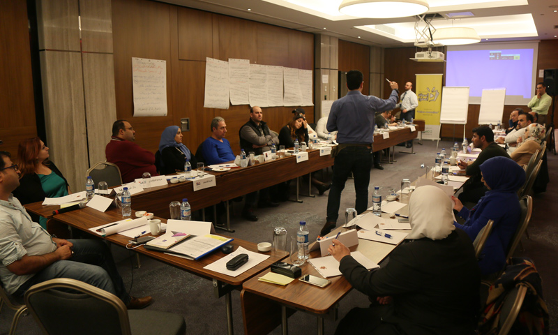 """Working groups at the """"Syrian Media Confronting Yellow Press"""" Forum preparing the final recommendations - October 30, 2017 (Enab Baladi)"""