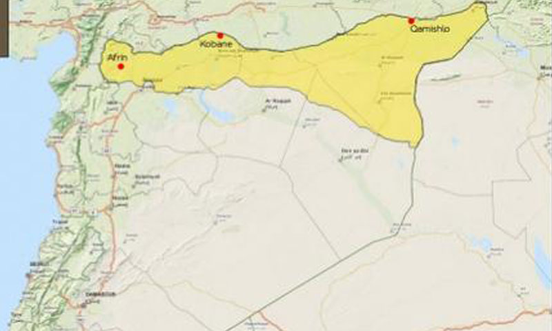 Map showing the geographical perception of the region of Rojava Syria