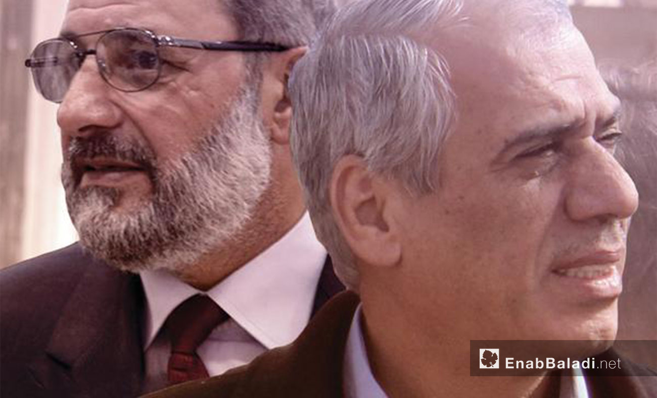 Jawad Abu Hatab, head of the Interim Government, and Muhammad al-Sheikh, head of the Salvation Government (Edited by Enab Baladi)