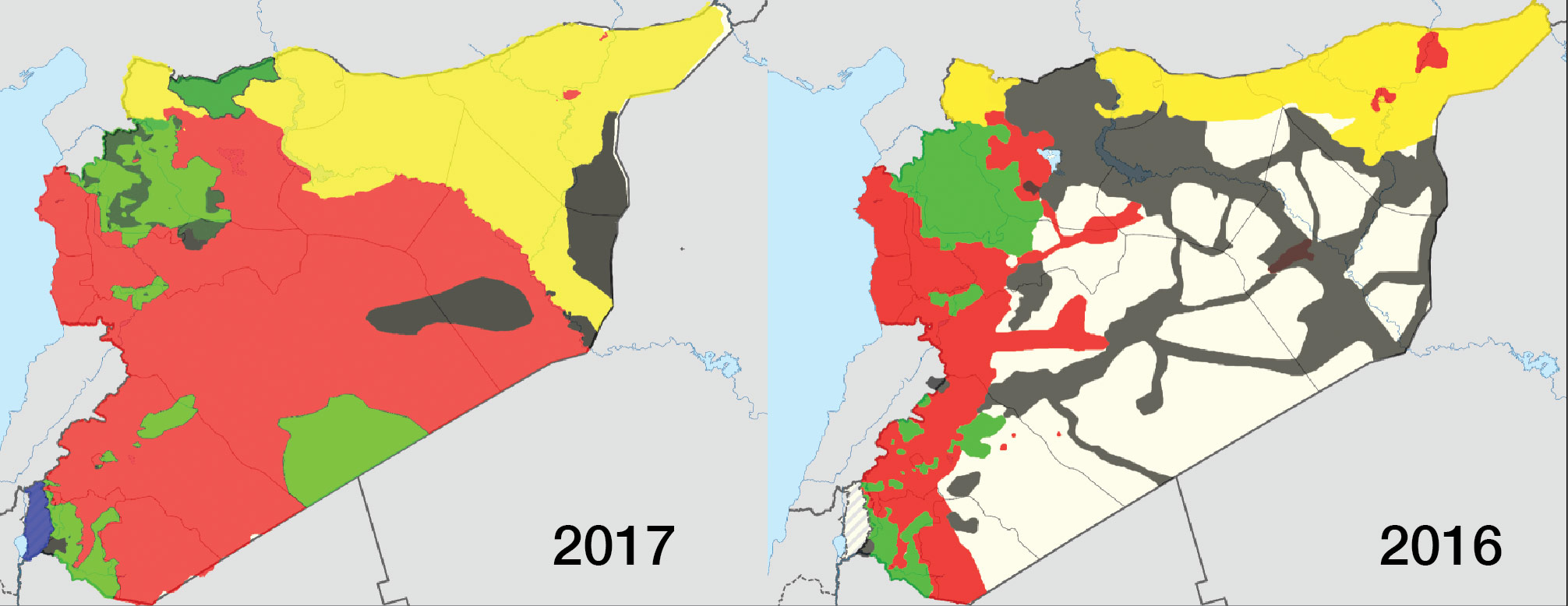 Map showing the change of military control in Syria between 2016 and 2017 (livemap)