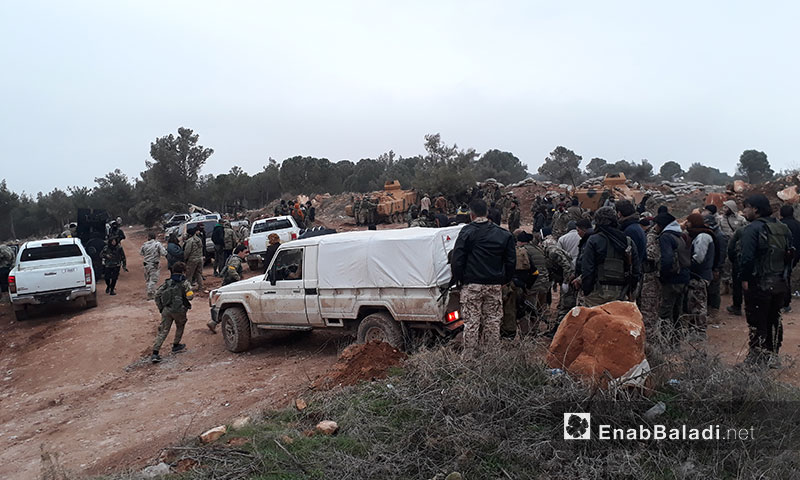Free Army elements on the top of the Bursaya mountain in the northern countryside of Aleppo – 24 January 2018 (Enab Baladi)