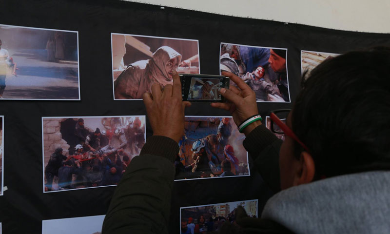 Photos presented in the countryside of Aleppo about the tragedies of the eastern neighborhoods of the city - 25 December 2017 (Facebook)